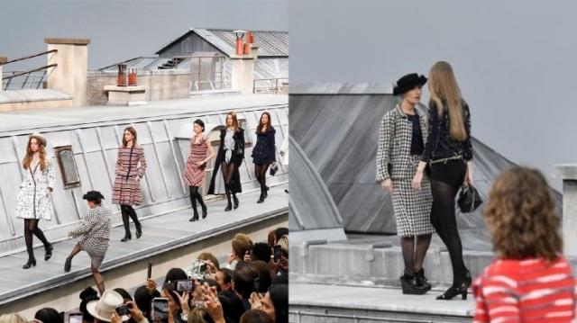 """""""จีจี้ ฮาดิด"""" อย่างเด็ด! จัดการตลกสาวป่วนรันเวย์ Chanel ทำเอาคนปรบมือรัว ( ชมคลิป )"""