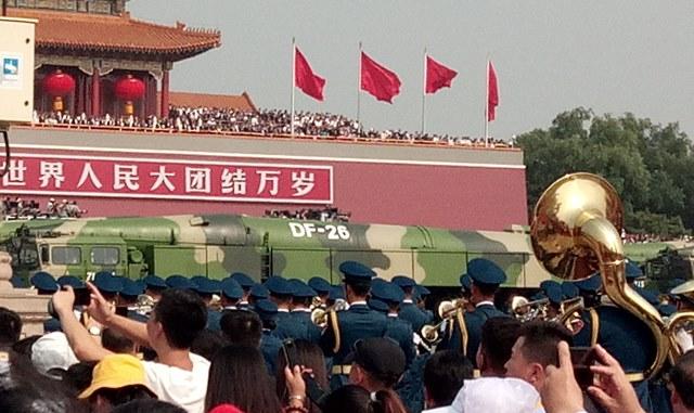 ขบวนแห่อาวุธยุทโธปกรณ์ของกองทัพปลดแอกประชาชนจีนระหว่างพิธีฉลองวาระครบรอบ 70 ปี การสถาปนาสาธารรัฐประชาชนจีน ณ จัตุรัสเทียนอันเหมิน กรุงปักกิ่ง เมื่อวันที่ 1 ต.ค. 2019 (ภาพโดย MGR ONLINE)