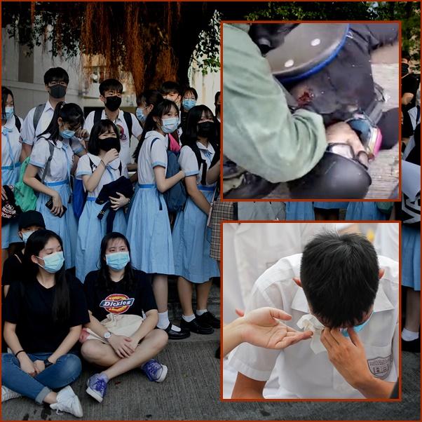 """InPics&Clips: เพื่อนร่วมชั้น """"นั่งประท้วง"""" หลังเด็กม.ปลายฮ่องกงวัย 18 ถูกตำรวจยิงกระสุนเฉียดหัวใจ อีกกว่า 180 ถูกจับวันชาติจีน"""