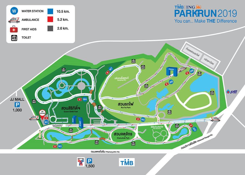 แผนผังเส้นทางวิ่ง 15 ธ.ค. ในอุทยานจตุจักร