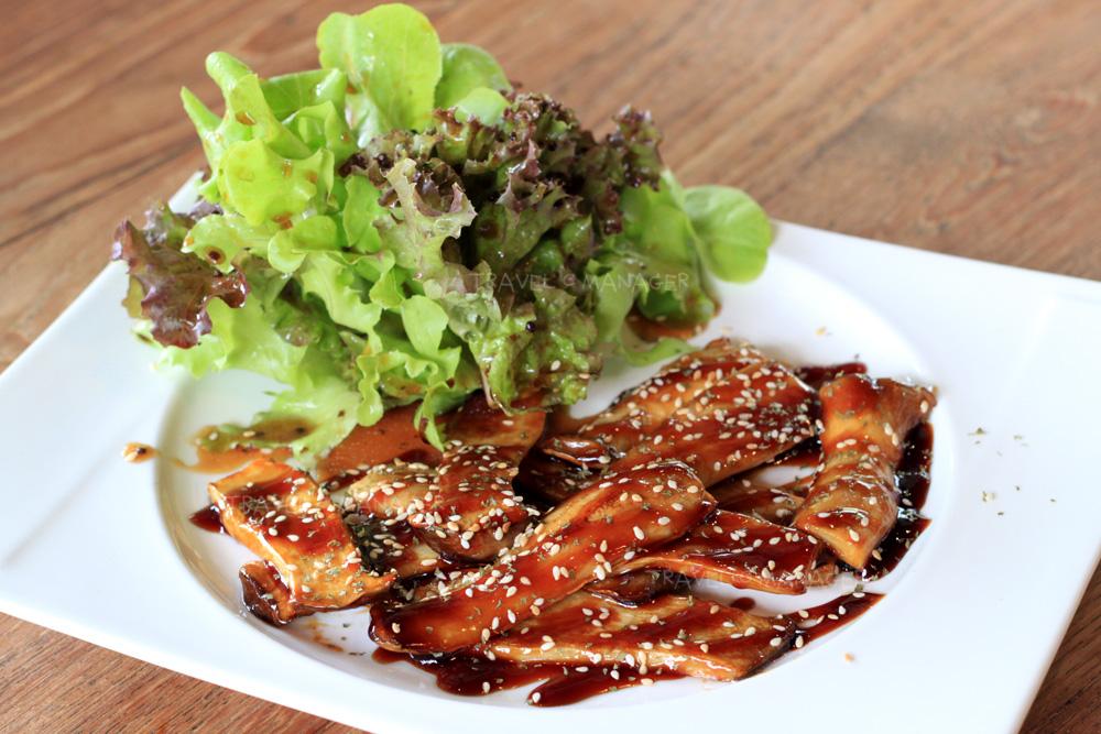 Grilled Eryngii & Salad Wasabi Dressing