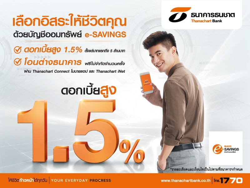 ธนชาตชวนออมกับ e-SAVINGS ชูดอกเบี้ยสูง 1.5%