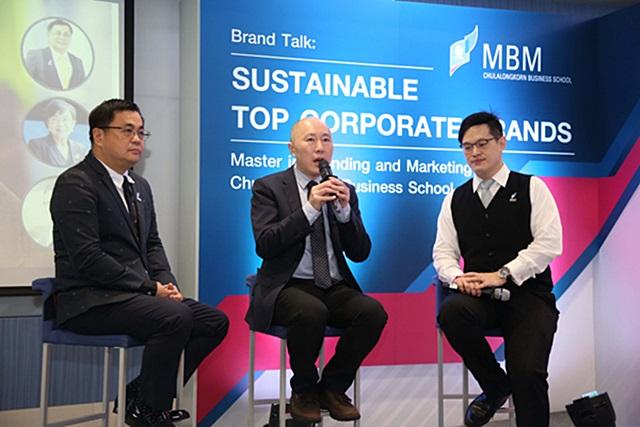 แบรนด์ทอล์ค : Sustainable Top Corporate Brands (จากซ้าย)ผศ.ดร. วิเลิศ ภูริวัชร, ดร. วินเซ็นต์ มาค และ ดร. เอกก์ ภทรธนกุล