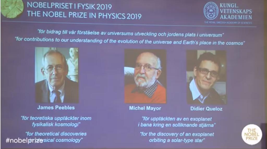 มอบโนเบลฟิสิกส์ให้ 3 ผู้ร่วมไขปริศนาจักรวาล