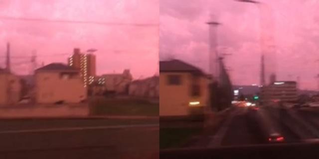 สวยสยอง! คลิปท้องฟ้าสีชมพูในเมืองโอซาก้า อาจเป็นเสียงเตือนจากธรรมชาติ