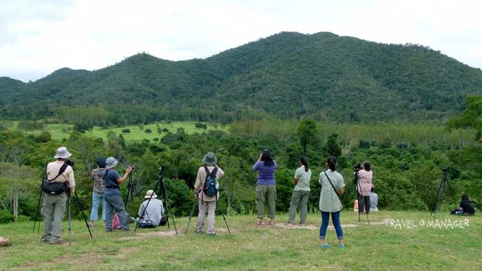 นักท่องเที่ยวมาเฝ้ารอชมช้างป่า กระทิง ณ จุดที่ทาง อช.กุยบุรีจัดไว้ให้