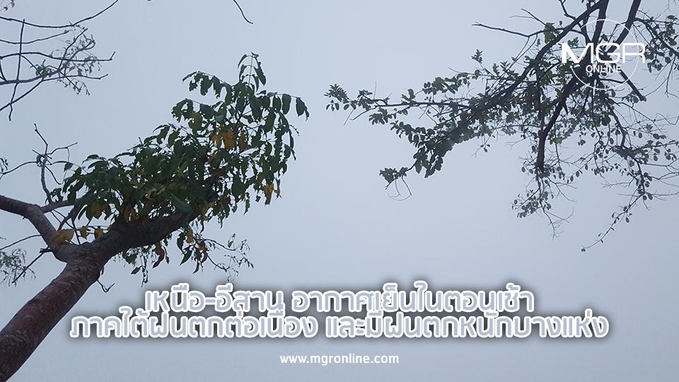 เหนือ-อีสาน อากาศเย็นในตอนเช้า ภาคใต้ฝนตกต่อเนื่อง และมีฝนตกหนักบางแห่ง