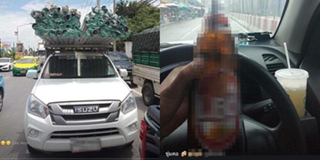 """แฉมาแฉกลับ! ขุดภาพหนุ่มคู่กรณี """"ตี๋ซีวิค"""" ดื่มน้ำท่อม-กระดกเบียร์ในรถ ขนของเกินมาตรฐาน"""