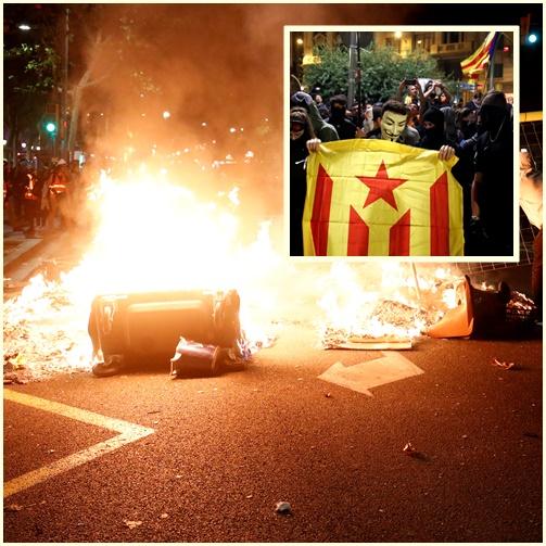 "InPics&Clip: กาตาลุญญาร่วม 350,000 รวมตัวประท้วงใน ""บาร์เซโลนา"" ก่อนเกิดปะทะกับกองกำลังความมั่นคงสเปนในช่วงค่ำ"