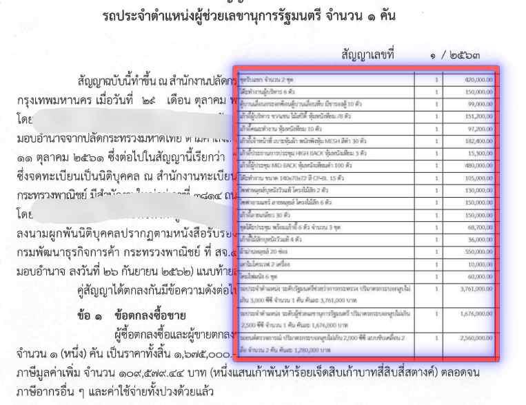 ซื้อแล้ว รถหรูคันละ 1.6 ล้าน ประจำตำแหน่ง ผู้ช่วยเลขานุการรัฐมนตรีมหาดไทย