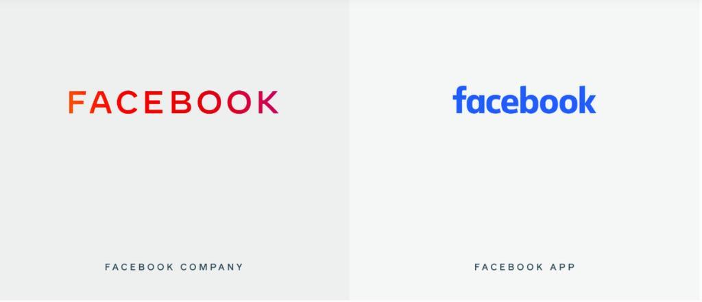 เทียบสัญลักษณ์หรือโลโก้ใหม่ (สีแดง) และเก่า (สีฟ้า) ของ Facebook