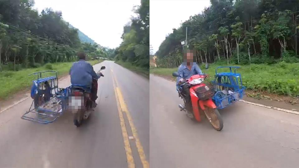 ขี่รถต่างจังหวัดระวังไว้ อยู่ดีๆ จักรยานยนต์ชาวบ้านตัดหน้า