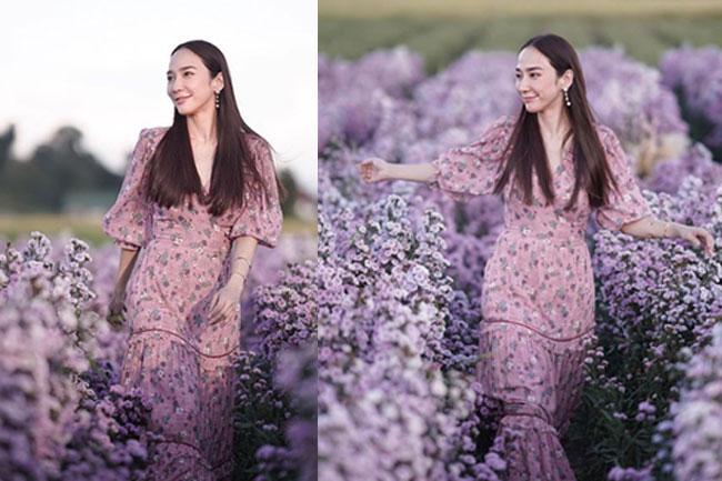"""สมใจแม่ """"อั้ม พัชราภา"""" สานฝันสวยละมุนแข่งหมู่มวลดอกไม้"""