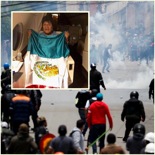 In Clip: โมลาเลสบินหนีออกนอกประเทศเข้าเม็กซิโก ทหาร-ตำรวจตรึงกำลังบนถนนในลาปาซ