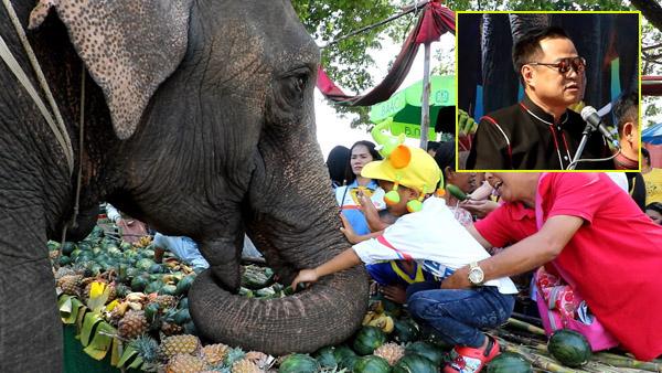 """""""อนุทิน"""" เปิดงานเลี้ยงอาหารช้างยิ่งใหญ่ ช้าง 160 เชือกพาเหรดเข้าเมืองร่วมงานมหัศจรรย์แสดงช้างสุรินทร์"""