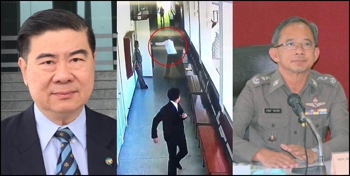 (ซ้าย) นายบัญชา ปรมีศณาภรณ์ ทนายความชื่อดัง (ขวา) พล.ต.ต.ธารินทร์ จันทราทิพย์ อดีตรองจเรตำรวจแห่งชาติ ผู้ก่อเหตุ (กลาง) ภาพจากกล้องวงจรปิดบันทึกภาพขณะเสมียนทนายโจทก์ใช้ปืนตำรวจประจำศาลยิง พล.ต.ต.ธารินทร์ หลัง พล.ต.ต.ธารินทร์ กราดยิงฝ่ายโจทก์