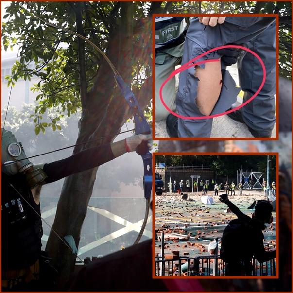 In Pics: ด่วน!! ตำรวจฮ่องกงถูกลูกธนูยิงบาดเจ็บระหว่างเด็กโพลีเทคนิกก่อหวอดปะทะ ส่วนโรงเรียนทุกแห่งปิดถึงวันจันทร์