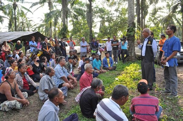 ชาวบ้านกว่า 200 คน รวมตัวในสวนปาล์มหมดสัมปทาน ไม่พอใจให้เอกชนเก็บผลผลิตต่อ เรียกร้องจัดสรรที่ดินให้คนจนทำกิน