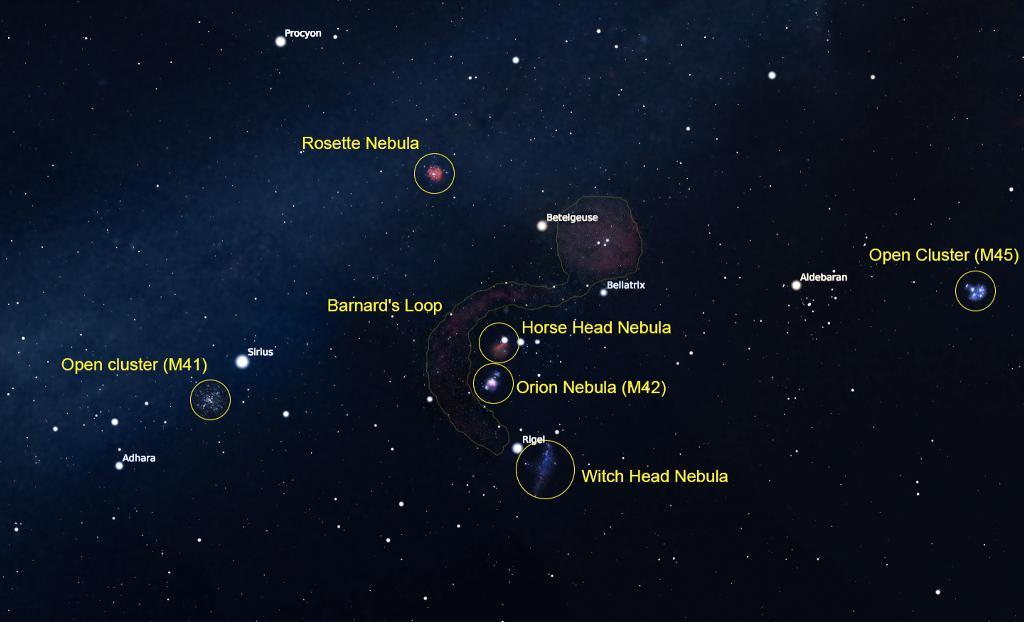 ภาพที่ 2 คือตัวอย่างภาพวัตถุท้องฟ้าในช่วงเดือนธันวาคม ซึ่งจะโผล่ขึ้นจากขอบฟ้าทางทิศตะวันออกในช่วงกลางดึก ประกอบด้วยวัตถุท้องฟ้าหลากหลายประเภท เช่น เนบิวลาสว่างใหญ่ในกลุ่มดาวนายพราน (M42) เนบิวลาหัวม้า (Horse Head Nebula) ซึ่งเป็นเนบิวลามืด เนบิวลาหัวแม่มด (Witch Head Nebula) เป็นเนบิวลาสะท้อนแสง เนบิวลาดอกกุหลาบ (Rosette Nebula) เป็นเนบิวลาแบบเปล่งแสง กระจุกดาวเปิด (M41) และเนบิวลาบริเวณกลุ่มดาวนายพราน Barnard's Loop ก็เป็นอีกหลายวัตถุที่สามารถเลือกถ่ายภาพได้ด้วยอุปกรณ์กล้องถ่ายภาพที่มีความยาวโฟกัสที่หลากหลาย