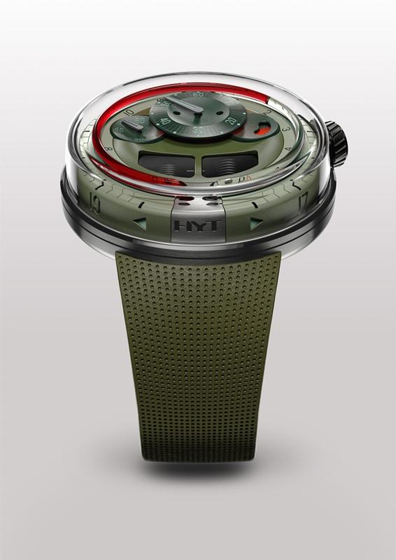 HYT (เอชวายที) : ถือกำเนิดในปี 2012 สร้างสรรค์เพื่อเอาชนะแรงโน้มถ่วงด้วยการแสดงการเดินทางของเวลาด้วยของเหลว โดยแรงบันดาลใจจาก Clepsydra นาฬิกาน้ำจากโลกยุคโบราณ มาพัฒนาในสไตล์ Hydro Mechanical Horologists ปีนี้เปิดตัว HO ตัวเรือนสตีลครอบด้วยคริสตัลแซฟไฟร์ ดูเวลาด้านข้างได้ หน้าปัดและสายโทนสีเขียว พร้อมระบบลูกสูบขับของเหลวสีแดงในหลอดแก้วให้แสดงเวลาชั่วโมง เมื่อครบ 6 นาฬิกาของเหลวจะไหลย้อนกลับเริ่มต้นใหม่