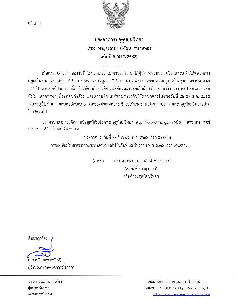 """กรมอุตุฯ คาดพายุไต้ฝุ่น """"ฟานทอง"""" สลายตัวในทะเลจีนใต้ ไม่กระทบไทย"""