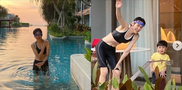 """สาวรุ่นลูกยังอาย! """"ปุ๊ อัญชลี"""" นุ่งชุดว่ายน้ำทูพีซ อวดความเซ็กซี่ในวัย 64 ปี"""