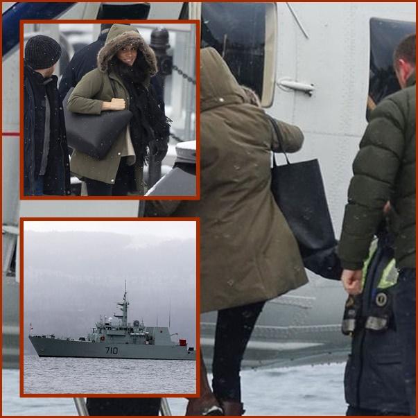"In Pics: กองทัพเรือแคนาดาปฎิเสธ ""ไม่ได้ส่งเรือรบ"" อารักขา ""เมแกน มาร์เคิล"" เจ้าตัวปรากฎตัวครั้งแรกหลังควีนซัมมิต"