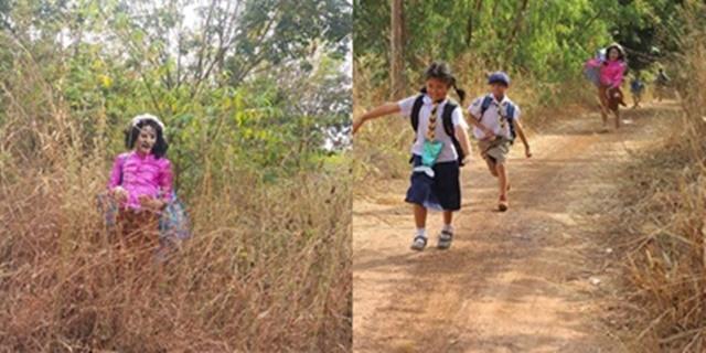 ครูหนุ่มลงทุนแต่งเป็นผีหลอกเด็กประถมวันเข้าค่ายลูกเสือ ทำเด็กวิ่งหนีกระเจิง