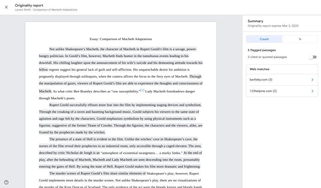 หลังจากส่งรายงานเข้าสู่ระบบ originality report ผู้สอนจะเห็นรายงานในแถบด้านข้างโดยอัตโนมัติ