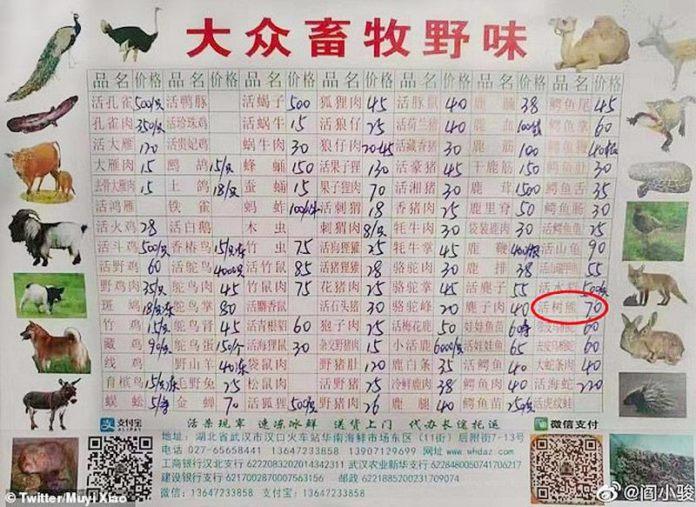 เมนูและราคาของสัตว์ป่าชนิดต่าง ๆ ที่ติดแสดงลูกค้าที่ตลาดหัวหนาน (ภาพ : www.dimsumdaily.hk)