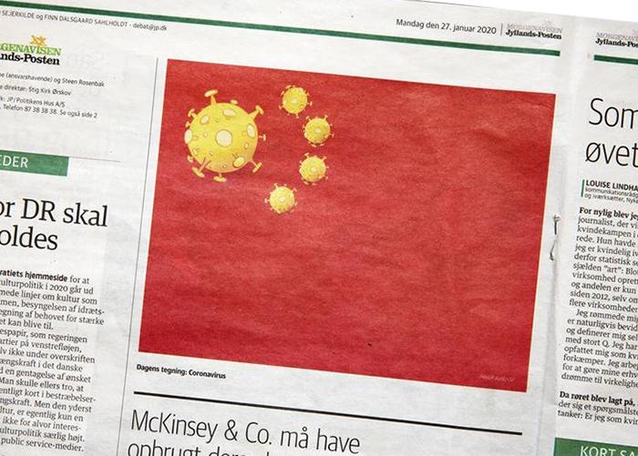 """จีนฉุน นสพ.เดนมาร์ก โยง """"ไวรัสอู่ฮั่น"""" ล้อเลียนธงชาติ"""