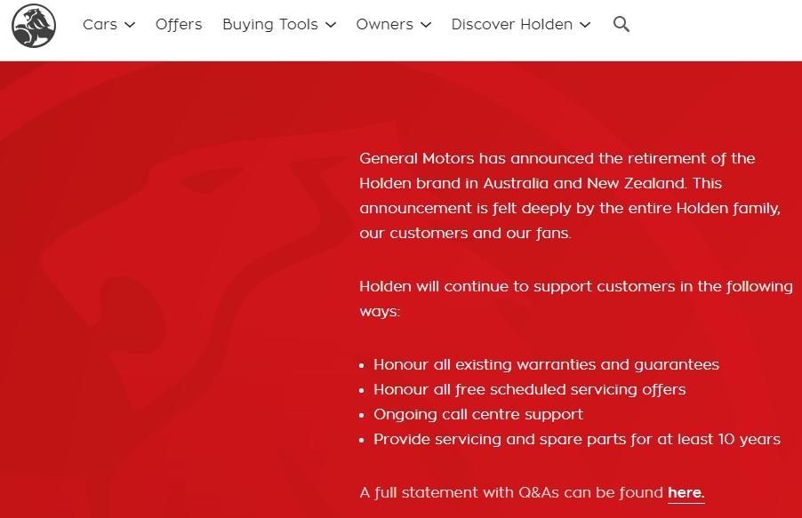 ประกาศบนหน้าเวปไซต์ของ Holden
