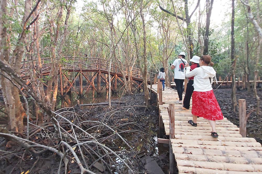 สะพานไม้ทางเดินชมลานตะบูน