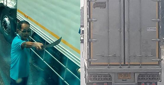 สิบล้อหัวร้อนปาดหน้าเอามีดาบทุบกระจกรถพ่วงก่อนหลบหนีไป