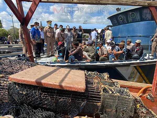 กองเรือภาค 2 จับเรือประมงเวียดนาม 6 ลำพร้อมผู้ต้องหา 36 คนลอบคราดปลิงทะเล