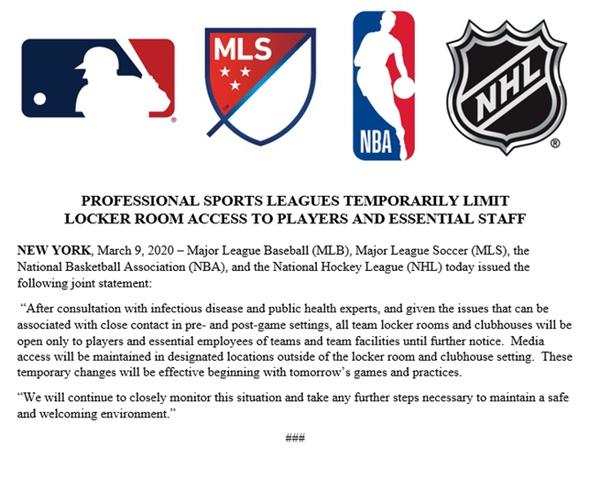 NBA สั่งปิดห้องแต่งตัว ย้ำนักข่าวยืนสัมภาษณ์ห่าง 6-8 ฟุต สู้ไวรัสโคโรนา