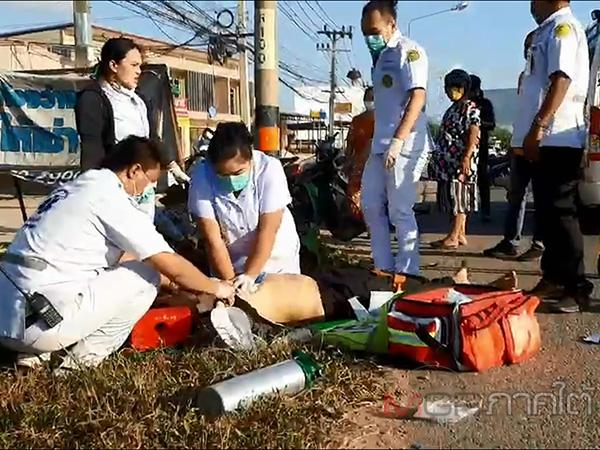 นาทีชีวิต! หน่วยกู้ชีพควนลังปั้มหัวใจช่วยชีวิตหนุ่มขับรถชนเสาไฟฟ้าแต่ไม่รอด