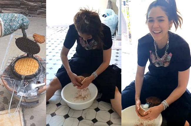 """วิถีแม่ """"ชมพู่ อารยา"""" พีคมากกับท่าขูดมะพร้าวทำขนมไทยให้ลูก (ชมคลิป)"""
