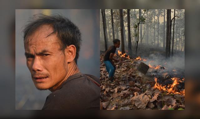 """ชื่นชม! """"อาซื่อ"""" ชายมุ่งมั่นดับไฟป่า ทั้งที่มีเพียงหน้ากากบาง-ไม้ตีไฟ"""