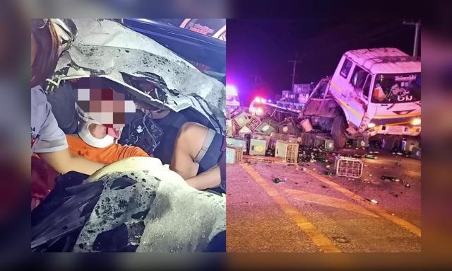 แม่วอน! บ.เบียร์ดังรับผิดชอบ หลังลูกชายประสบอุบัติเหตุชนรถขนขวดเบียร์