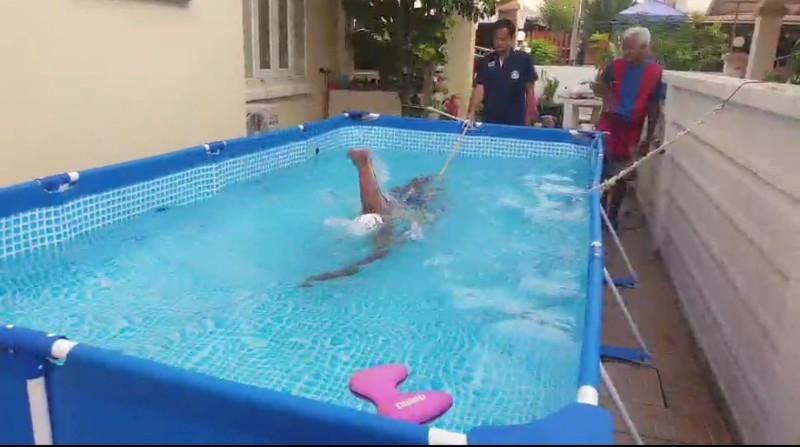4 นักว่ายน้ำไทยฟิตซ้อมอยู่บ้าน ลุ้นคัดโอลิมปิกปลายปีนี้