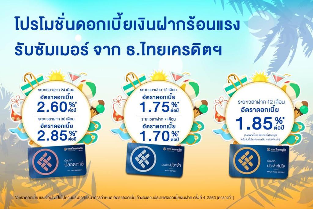 ธ.ไทยเครดิตฯ ชูเงินฝากดอกเบี้ยจูงใจ ดึงคนไทยเก็บออมสร้างรากฐานการเงิน