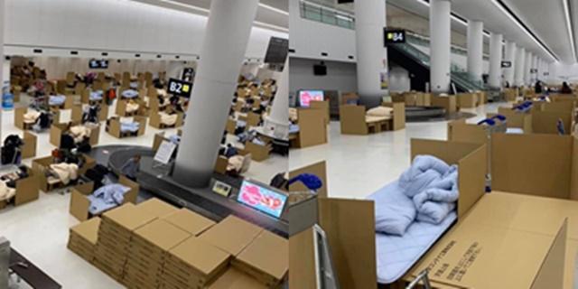 เผยภาพสนามบินนาริตะ เตรียมอาหาร-กล่องกระดาษ ทำที่นอนให้ผู้โดยสารรอระหว่างตรวจหาเชื้อโควิด-19