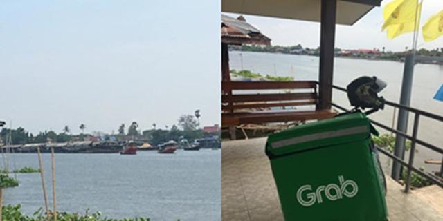 หนุ่มแกร็บฟู้ด เจองานยาก ลูกค้าสั่งอาหารจากเรือสินค้า ปักหมุดส่งกลางแม่น้ำ