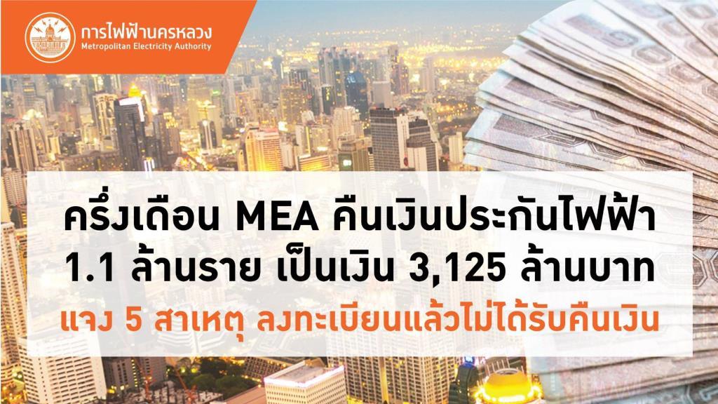 ครึ่งเดือน MEA คืนเงินประกันไฟฟ้า 1.1 ล้านราย เป็นเงิน 3,125 ล้านบาท พร้อมแจง 5 สาเหตุลงทะเบียนแล้วไม่ได้รับคืนเงิน  วันนี้ (18 เม.ย