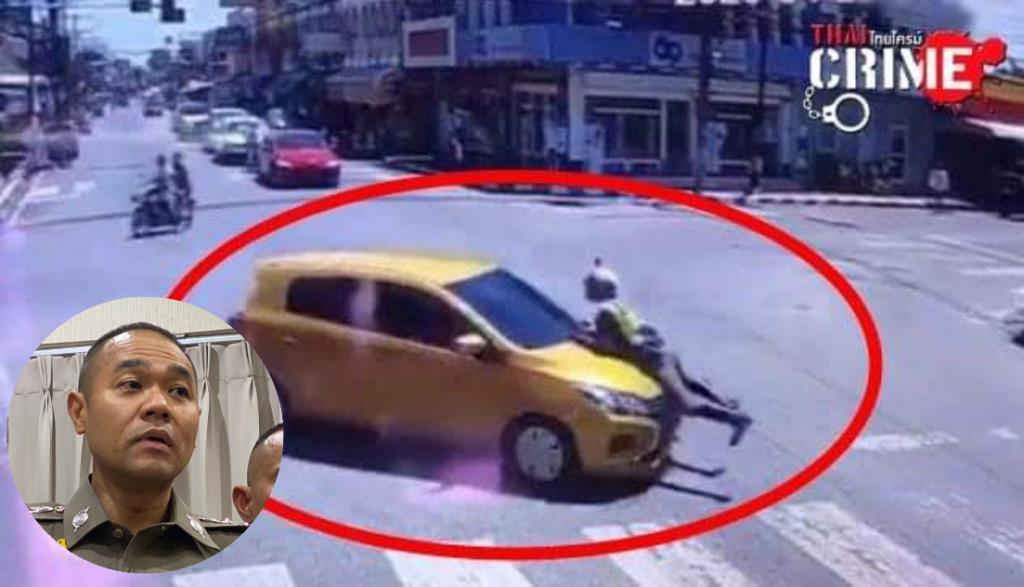 """ตร.เร่งล่า """"เก๋งมิตซูสีเหลือง"""" ชนจยย.ตำรวจแล้วหลบหนี นายดาบโดดเกาะฝากะโปรงไกล 2 กม."""