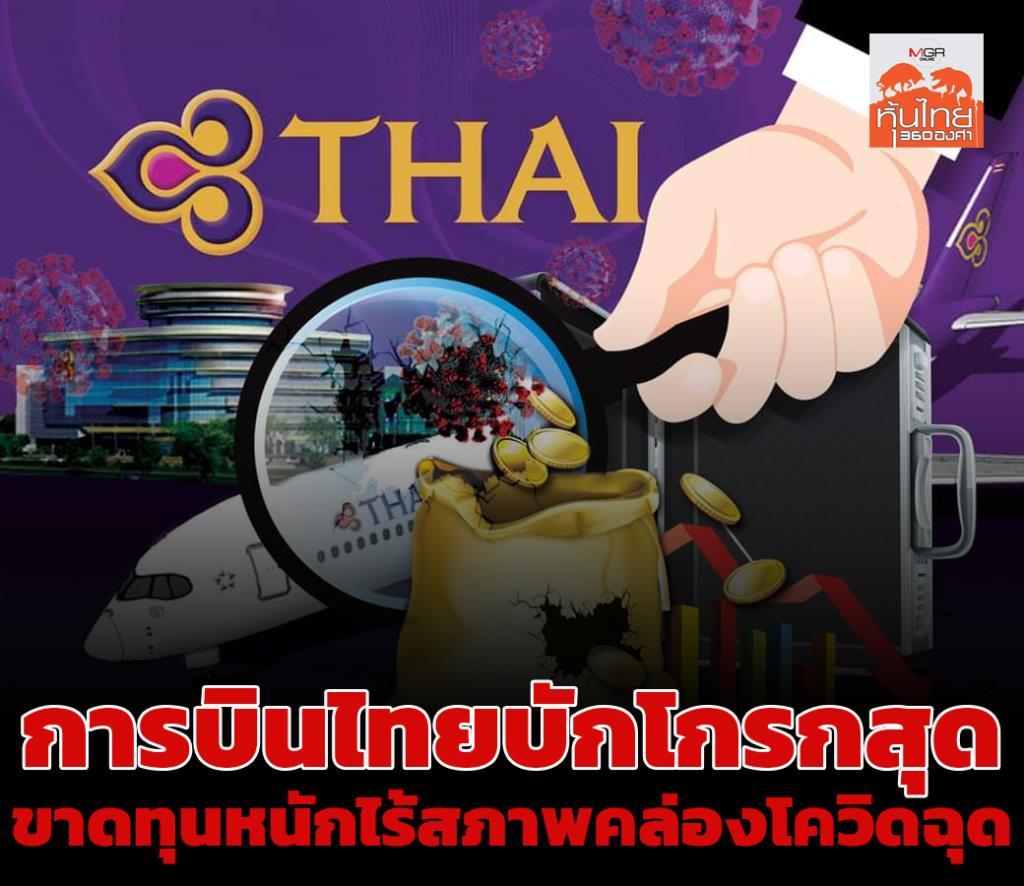การบินไทยบักโกรกสุด ขาดทุนหนักไร้สภาพคล่องโควิดฉุด