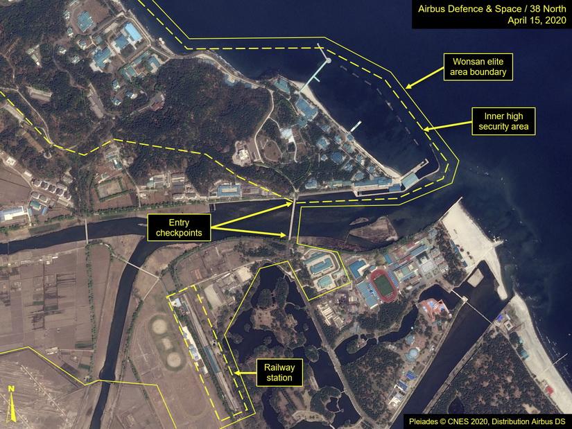 ภาพถ่ายดาวเทียมบริเวณเมืองวอนซาน ซึ่งคาดว่าผู้นำเกาหลีเหนือเดินทางไปพักรักษาตัวอยู่