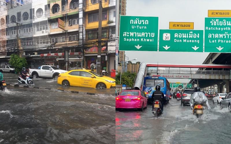 ฝนกระหน่ำกรุง! น้ำท่วมขังรอการระบายหลายจุด ถนนลื่นเกิดอุบัติเหตุ ทำรถติดสะสม