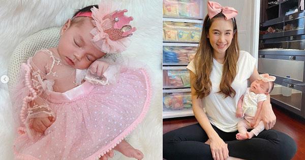 """สวยเหมือนแม่ """"น้องลลิน"""" ลูกสาว """"เนย โชติกา"""" ครบ 1 เดือนแล้ว"""